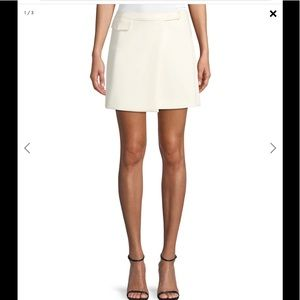 Theory Draped A-line Mini Skirt Ivory Draped Front